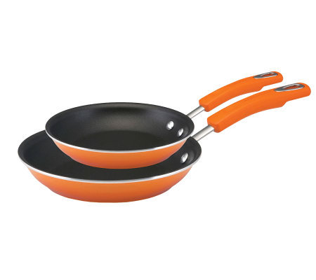 Rachael Ray Hard Enamel Skillet Twin Pack - Orange