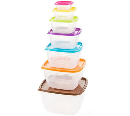 Classic Cuisine 14-Piece Colored Food Storage Set - Square