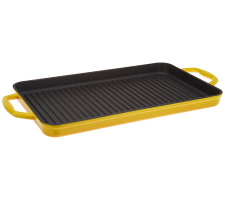 """As Is"" Cook's Essentials Cast-Iron Rectangular Grill Pan"