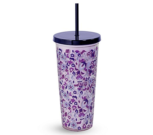 Vera Bradley 24-oz Double Walled Tumbler with S traw