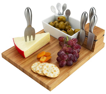 Picnic At Ascot Buxton Bamboo Cheese Board Setwith 4 Tools