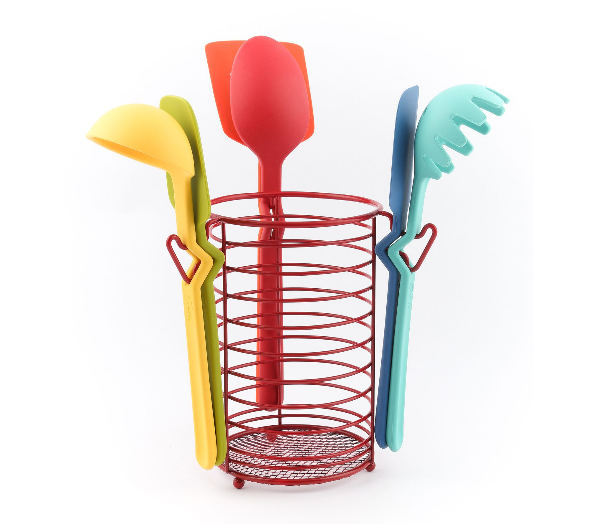 Fiesta 7 Piece Silicone Utensil Set With Wire Caddy Qvc Com