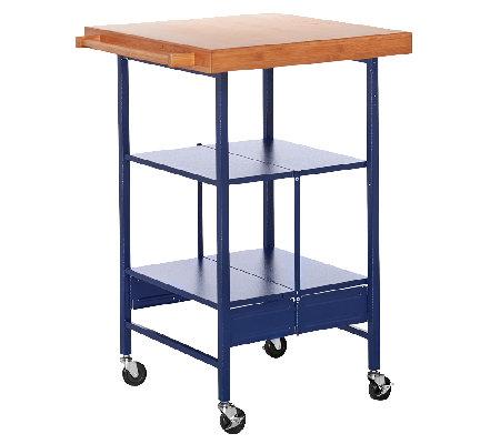 Temp-tations OW or FL Bamboo Top Folding Kitchen Cart — QVC.com