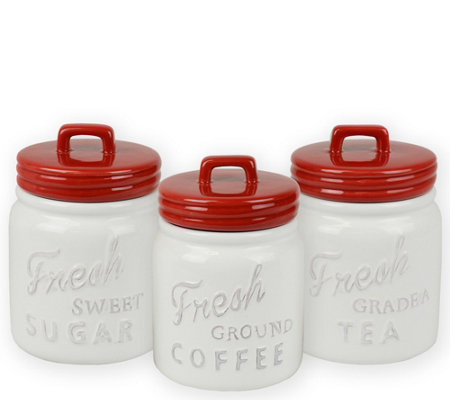 Design Imports Set Of 3 Vintage Ceramic Masonjar Canisters