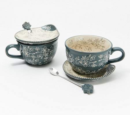 Temp-tations Floral Lace Set of (2) 22-oz Meal Mugs with Spoons