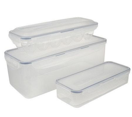 Lock U0026 Lock 3 Piece Bread Box, Bacon U0026 Egg Storage Set