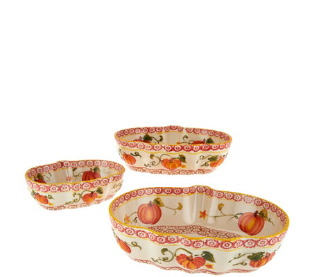 """As Is"" Temp-tations Pumpkin Patch or Harvest Set of 3 Bowls"