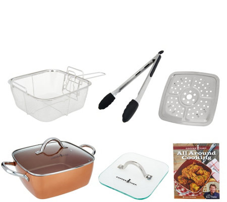 "Copper Chef 9.5"" Square Pan with 5-Piece Cooking System & Recipes"