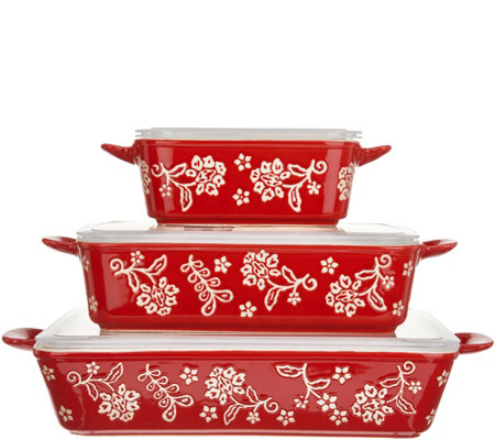 Cook's Essentials Santa Rosa 3-Pc Ceramic Bakers with Lids