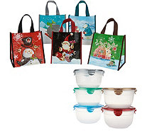 Lock & Lock Set of 5 Bowls or Rectangles with Holiday Gift Bags - K47521