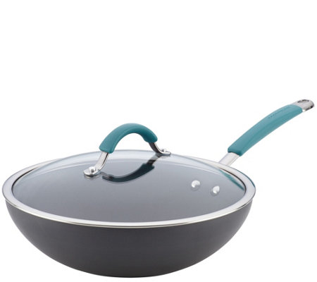 "Rachael Ray Cucina Hard-Anodized Nonstick 11"" Covered Stir Fr"