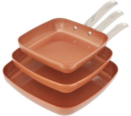 Copper Chef 3-Piece Nonstick Square Pan Set