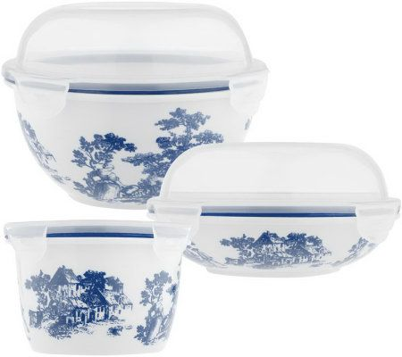Prepology 3 Piece Toile Porcelain Food Storage Set Page 1 QVCcom