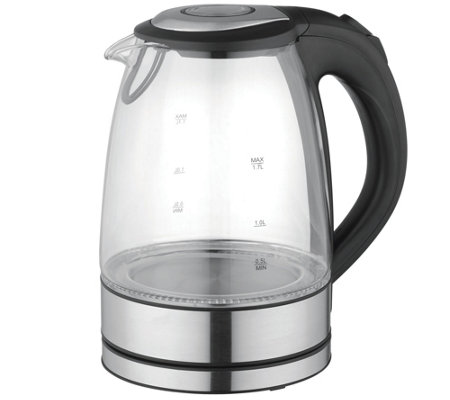 MegaChef 1.7-Liter Glass & Stainless Steel Electric Teakettle