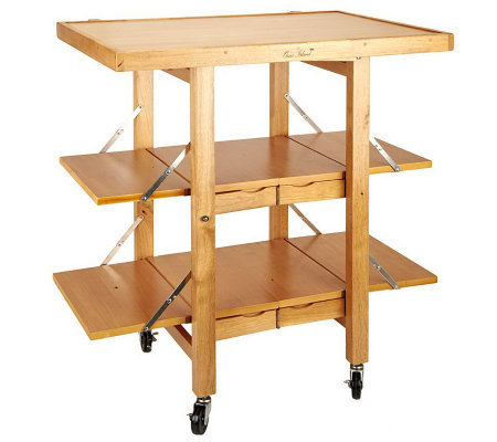 Folding Island Kitchen Cart with Extendable Shelves - Page 1 — QVC.com