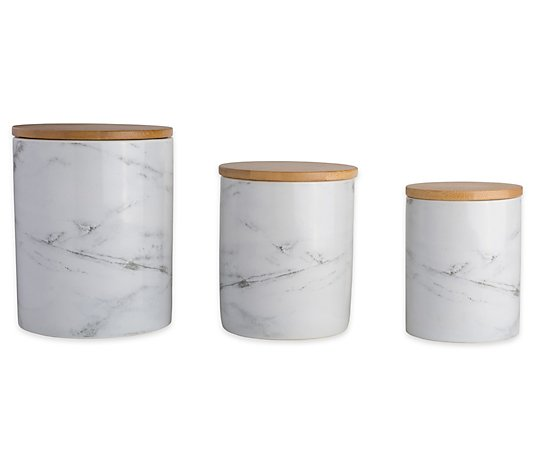 Design Imports Marble Ceramic Canister Set of 3