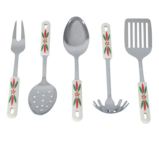 Temp-tations 5-pc Seasonal Stainless Steel Serving Utensil Set