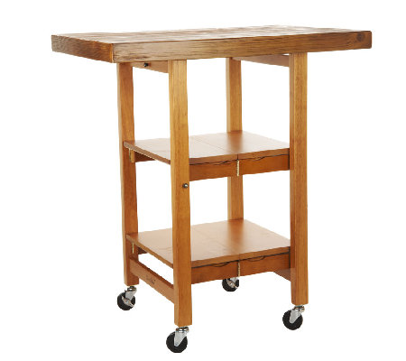 Folding Island Kitchen Cart with Hand Brushed Textured Top - Page 1 ...