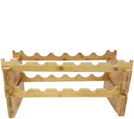 Sorbus 2-Tier Bamboo Wine Rack Holds 12 Bottles