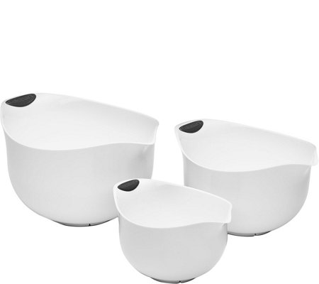 Cuisinart 3-Piece Set of Plastic Mixing Bowls -White