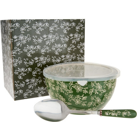 """As Is"" Temp-tations Floral Lace 4qt Bowl with Serving Spoon"