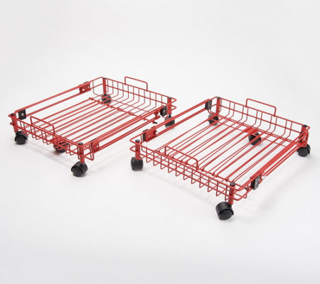 Set of 2 XL Expandable Storage Trays with Wheels and Handles