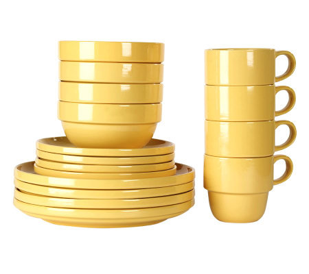Tabletops Gallery Yellow Stax 16-Piece Dinnerware Set