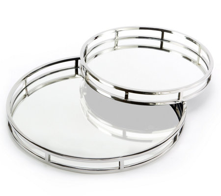 Two's Company Set of 2 Round Mirrored Trays