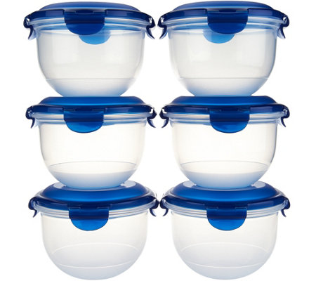 Lock & Lock 6 piece Tulip Bowl Storage Set w/ Color Lids