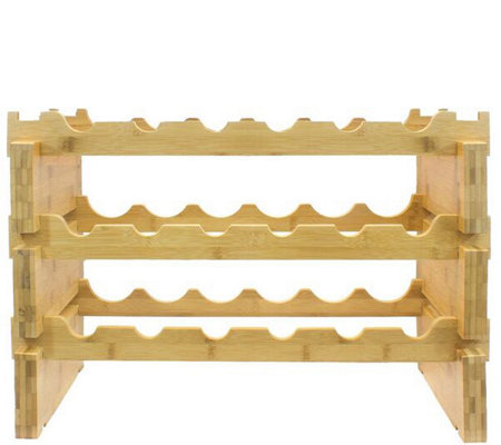Sorbus 3-Tier Bamboo Wine Rack Holds 18 Bottles