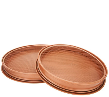 "Copper Chef 12"" and 15"" Perfect Pizza and Crisper Pans"