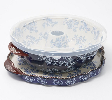 Temp-tations Floral Lace Fluted Tube Pan with Lid-It