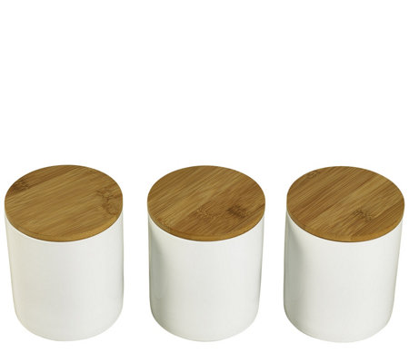 Denmark Set of 3 Porcelain Canisters with Bamboo Lids
