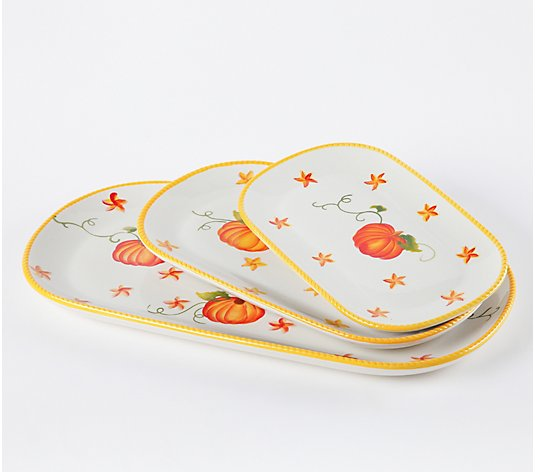 Temp-tations Set of 3 Pumpkin Patch Squoval Trays