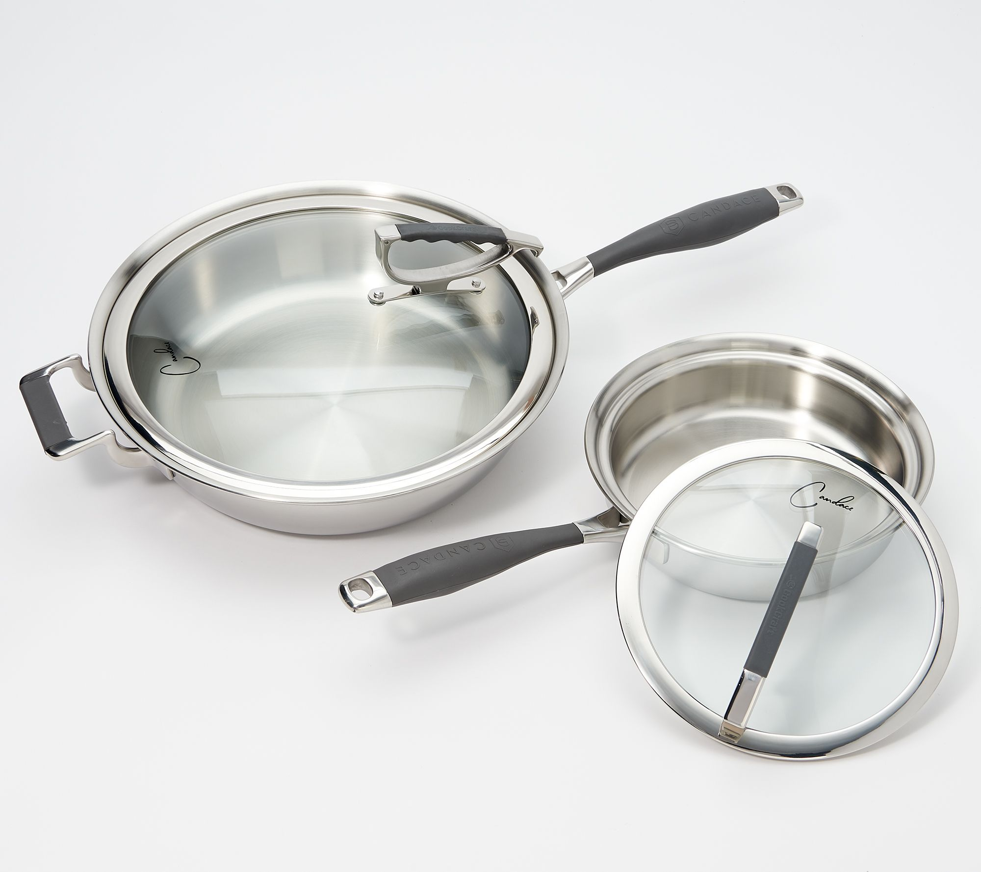 Cookcraft By Candace Cameron 4 Pc Tri Ply Stainless Steel Cookware Set Qvc Com