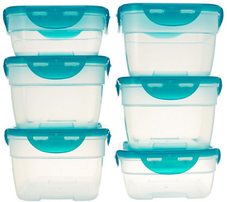 Lock & Lock 6pc Nestable Rectangle Storage Set w/ Color Lids