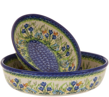Lidia's Polish Pottery Hand-Painted S/2 Nesting Oval Bakers