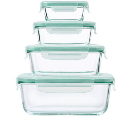 OXO Good Grips 8-Piece SNAP Glass Rectangular Container Set