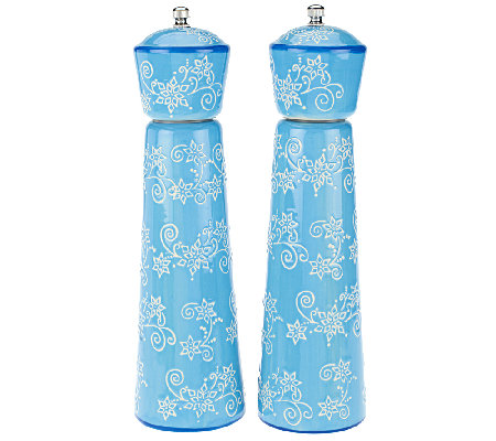 Temp-tations Set of 2 Holiday Ceramic Pepper Grinders
