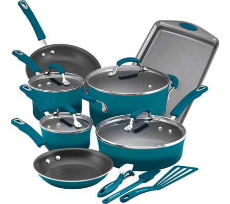 Rachael Ray 14-Pc Hard Enamel Aluminum Nonstic k Cookware Set