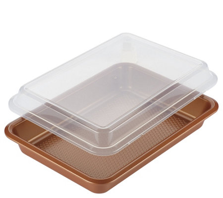 "Ayesha Curry Bakeware 9"" x 13"" Covered Cake Pan - Copper"