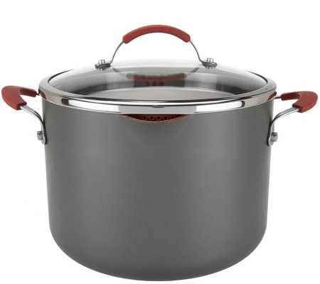CooksEssentials Hard Anodized 8qt Stockpot w/Glass Locking Drain Lid