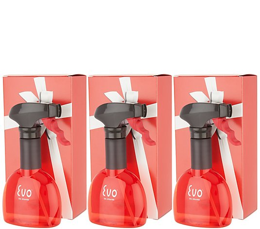 Evo Set of (3) 8-oz Non-Aerosol Oil Sprayers with Gift Boxes