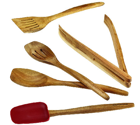 Rachael Ray Cucina Tools 5-Piece Wooden Tool Set - Red