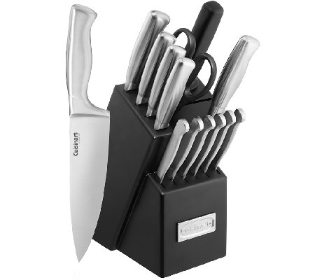 "Cuisinart 15-pc Stainless Knife Set with 7"" Santoku Knife"