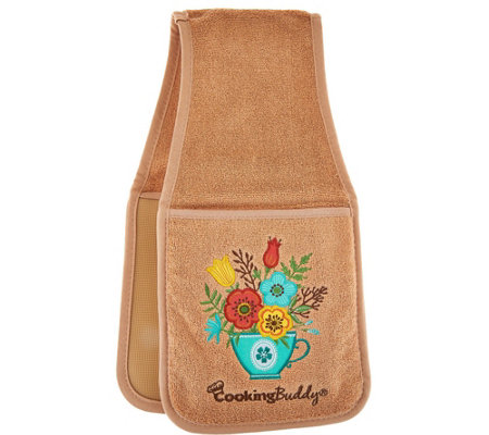 Campanelli Cooking Buddy Teacup Embroidered Towel & Pot Holder