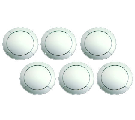 "Scallop-Edged Round 13"" Mirror Glass Charger -Set of 6"