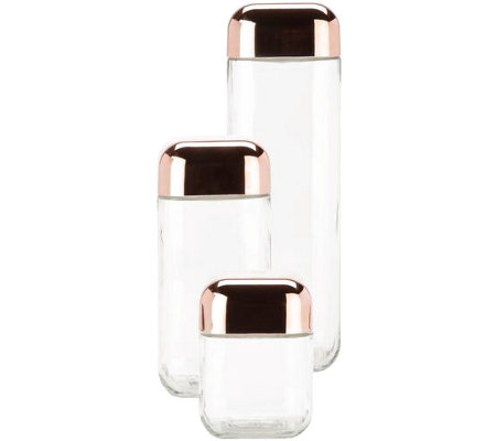 Honey-Can-Do 3-Pc Glass Canister Set w/ Copper-Colored Lids