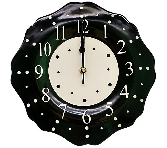 "Temp-tations Polka Dot 10.5"" Ceramic Clock"