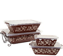 Temp-tations Floral Lace Set of 4 Nesting Bakers - K47838